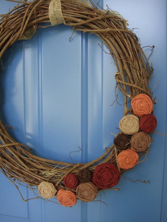 """Wreath -18"""" Fall Rosette Wreath"""
