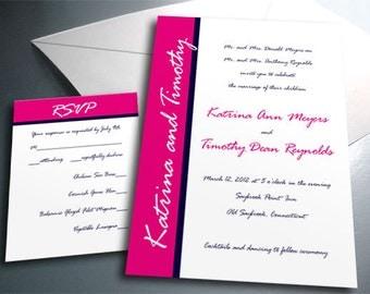 Wedding Invitation Card Suite Set - Printable PDF - Modern Script - Personalized - Custom Colors