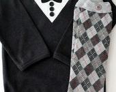 Little Tuxedo Onesie and Leg Warmer Set - Baby Boy - Baby Bodysuit
