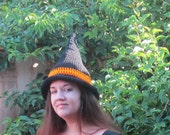 Traditional Witch Hat  Unisex Halloween Costume Hat Black and Orange