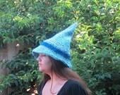 Crochet Adult Hat Blue Wizard Witch Halloween