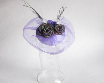 Purple Fascinator, Hair Clip On with Rolled Roses