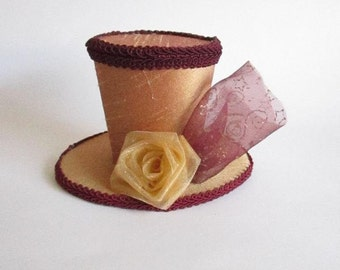 Crimson and Gold  Mini Top Hat Fascinator Photo Prop