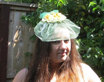 Green and Yellow Fascinator with Veil