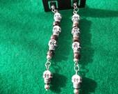 Earrings skulls and wooden beads