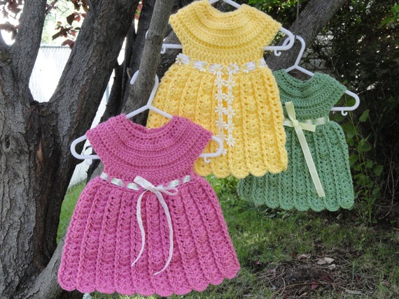 Fast and Easy Bethany Dress Crochet Pattern Sizes Newborn,  0-3 Months and 3-6 Months