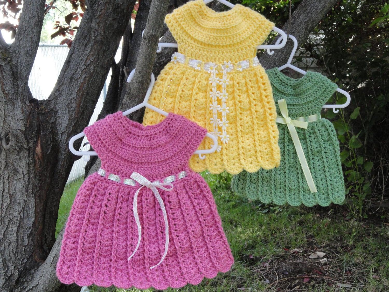 Crochet Simple Dress Pattern : Fast and Easy Bethany Dress Crochet Pattern Sizes Newborn