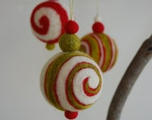 Needle Felted Christmas Jingle Bell Ornament - Red