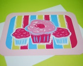Cupcake note card - original printed design - hand cut - hand assembled - 5x7