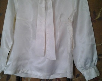Ivory silky blouse with long neck tie