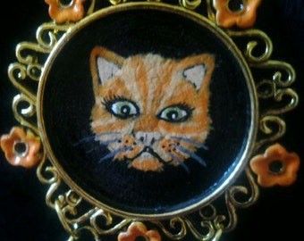Orange tabby cat necklace