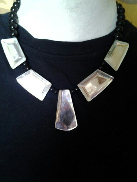 Large Abstract faux glass black statement necklace
