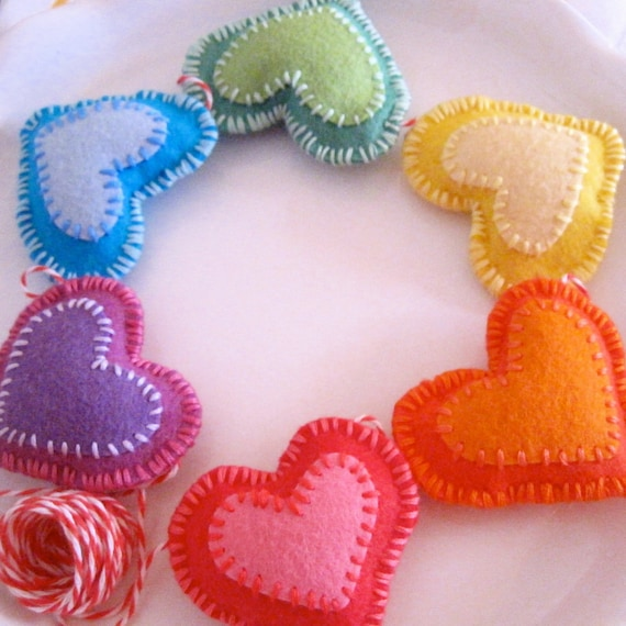 RAINBOW HEARTS GARLAND - felt hearts garland - a rainbow of six hand-stitched felt hearts - darling garland valentine decor