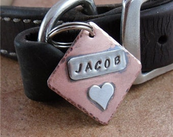 Copper Pet ID Tag with Sterling Silver Heart
