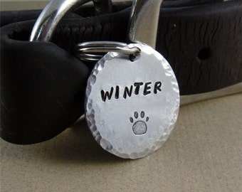 Pet ID Tag - Aluminum Dog Tag with Paw Print