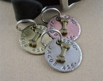 Pet ID Tag - Brass Bone Dog Tag