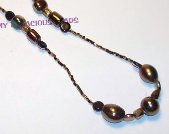 "Handmade 40"" ROPE NECKLACE & EARRINGS Set Copper Metallic Iridescent Beads  Glittery Earth Tones"