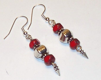 "Handmade 2"" Dangle EARRINGS  RED Fire Polished  CZECH Beads with Sterling Accents and Wires"