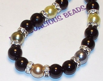"Elegant Handmade 17.5 ""  BLACK & Multicolor PEARL NECKLACE  Swarovski Crystal and Lobster Claw"