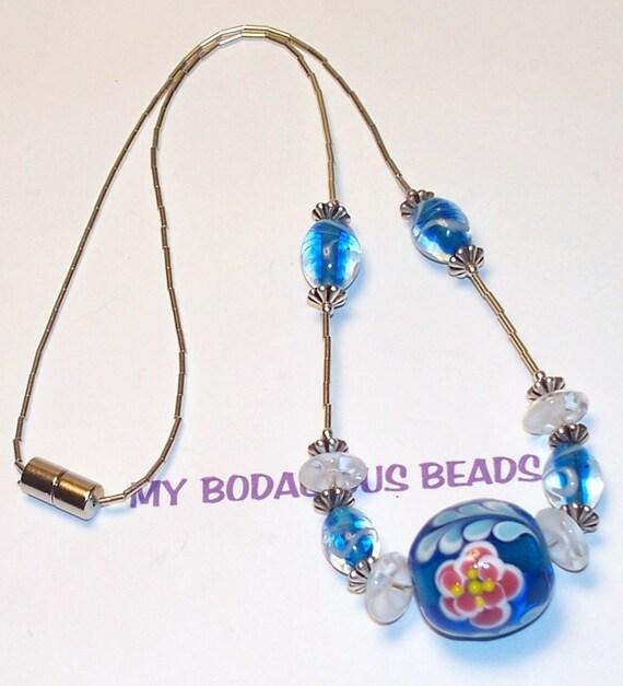 "Handmade 18"" NECKLACE & EARRINGS SET Blue Art Glass Flower Bead  Liquid Silver Magnetic Clasp"