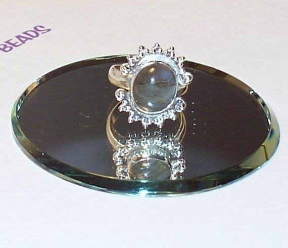 """Handmade  Size 7  LABRADORITE  RING Set in Sterling  7/8"""" x 3/4"""" Oval Shape Stone in setting"""