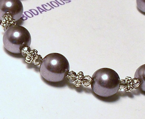 """Elegant Handmade 18""""  Gray  GREY PEARL NECKLACE  Swarovski Crystal with Silver Accent Beads and Hook Closure"""