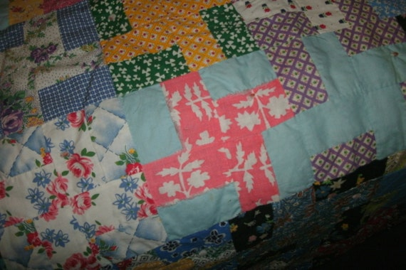Vintage handcrafted quilt size 75 X 80