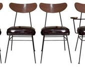 50's Wrought Iron Chairs Three Sides One Arm