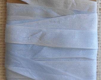 Hand Dyed Seam Binding Ribbon 5 yds Pale Blue, Baby Blue, Pastel Blue