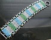 Bead Woven wide cuff bracelet beadwoven handmade beaded jewelry
