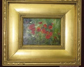 Handpainted Original Oil Painting 5 x 7 with Frame Poppie Along the Track by Jan Hulen