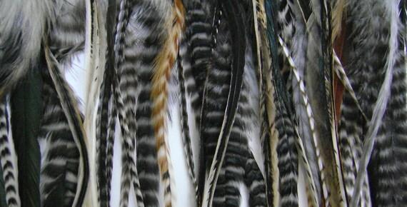 10 Salon Grade Fat/Fluffy Feather Hair Extension Mix Natural Unique Grizzlies