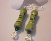 Recycled Paper Earrings - Paper Bead Jewelry - Colors of Green - Upcycled - PaperChaseJewelry - Sterling Silver Hooks Beaded Earrings