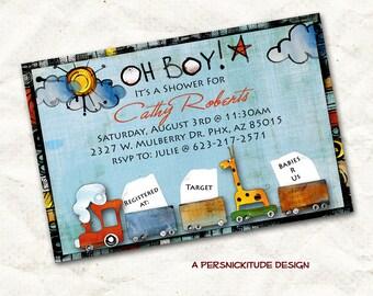 oh boy train baby shower invitation print yourself digital file