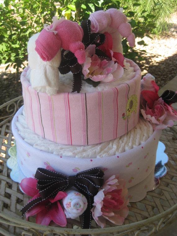 Diaper Cake 2 Tier Sale 20 Off Baby Girl Twin Baby Elephants