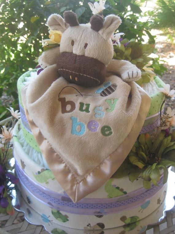 diaper cake 2 tier giraffe baby girl shower gift or centerpiece