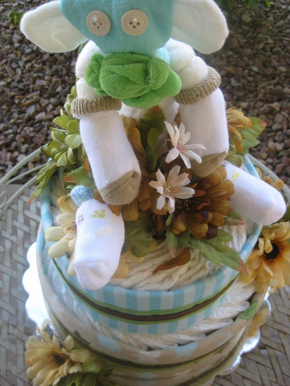 baby monkey diaper cake 2 tier baby boy shower gift and centerpiece