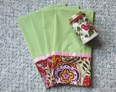 4 Tea Towels, Soft Spring Green Dish Towels, Green and Pink