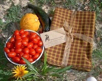 Primitive Mustard Yellow and Rustic Red Homespun Dish Towels ~ Set of 2