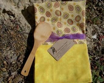 Summer Yellow Circles Dish Towel Set of 2