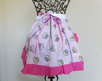 Girl's Apron, Pink Cupcake Cooking  Apron, Girl Birthday Gift, Cupcake Party