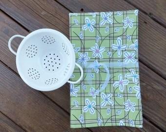 Green Garden Flower Dish Towels ~ Set of 2