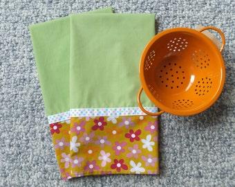 2 Green Farmhouse Dish Towels, Tea Towels, Summer Flowers