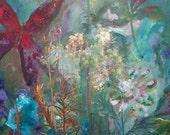 Original Butterflies Acrylic Painting  Butterflies Laugh 18x24 Reserved for Kat