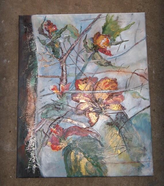 Mixed Media Original  Painting  16x20 Golden Hibiscus
