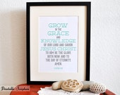 2 Peter 3:18. Grow in Grace. 8x10.  DIY. Printable Christian Poster. PDF. Bible Verse.