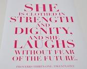 She. Proverbs 31:25. PInk. 8x10. Christian Poster Print. Bible Verse.