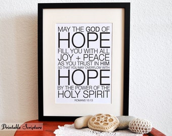 Overflow with Hope. Romans 15:13. DIY. PDF. 8x10 Printable Scripture Poster.