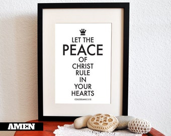 PEACE. Colossians 3:15. PRINTABLE DIY Christian Poster. 8x10. Bible Verse.