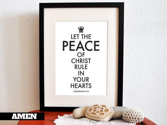 PEACE. Colossians 3:15. PRINTABLE DIY Christian Poster. 8x10. Bible Verse.